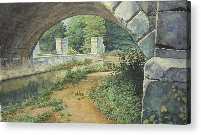 Erie Canal Acrylic Print featuring the painting Under The Erie Canal by Stephen Bluto