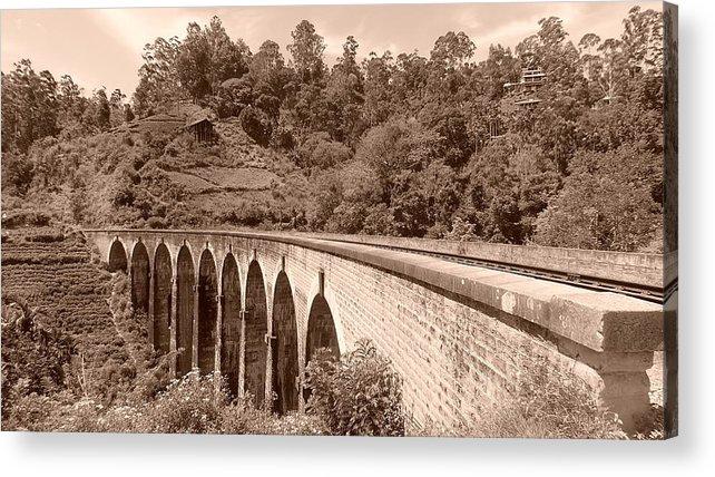 Landscape. Bridge Acrylic Print featuring the photograph View Of Ancient Bridge by Mohan