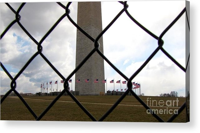 Schuminweb Acrylic Print featuring the photograph Washington Monument Through Fence by Ben Schumin