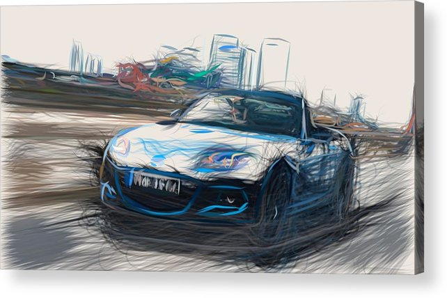 Mazda Acrylic Print featuring the digital art Mazda Mx 5 Sport Graphite Draw by CarsToon Concept