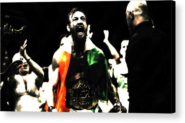 Conor Mcgregor Acrylic Print featuring the mixed media Conor Mcgregor Getting It Done by Brian Reaves