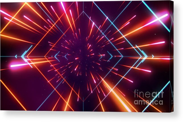 Data Acrylic Print featuring the digital art Futuristic Space Tunnel by Alx rmnwsky