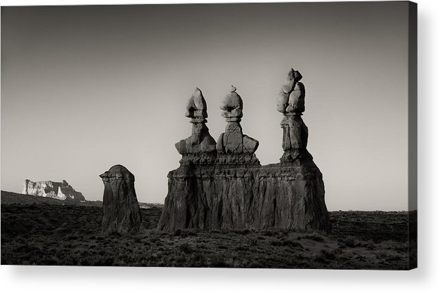 Goblin Valley Acrylic Print featuring the photograph Three Sisters, Sunrise by Joseph Smith