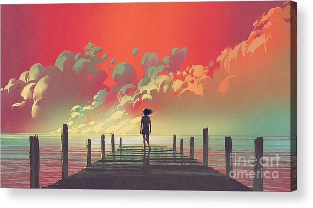 Illustration Acrylic Print featuring the painting My Dream Place by Tithi Luadthong