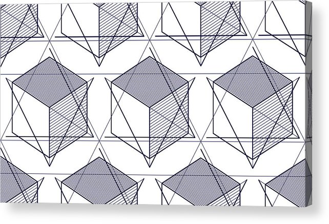 Geometric 3d Lines Abstract Seamless Pattern Vector Background Technology Style Engineering Line Drawing Endless Illustration Single Color Black