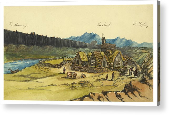 Almanna Gorge Acrylic Print featuring the painting Almanna Gorge Circa 1862 by Aged Pixel