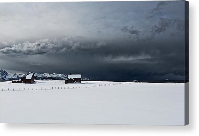 Stormy Clouds. Northern Parts Of Norway In April 2013 Acrylic Print featuring the photograph Black Clouds - White Snow by Frank Olsen