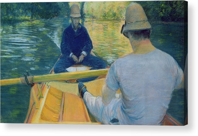 Canotiers Sur L'yerres Acrylic Print featuring the painting Boaters On The Yerres by Gustave Caillebotte