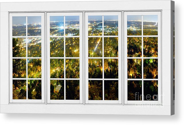 Windows Acrylic Print featuring the photograph City Lights White Window Frame View by James BO Insogna