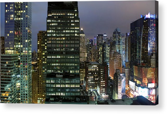 Facades Of Office Buildings In Midtown Manhattan At Night New York