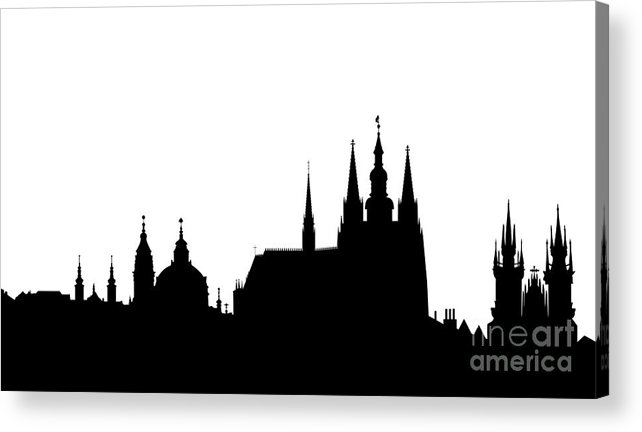 Hradcany Acrylic Print featuring the digital art famous landmarks of Prague by Michal Boubin