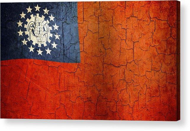 Aged Acrylic Print featuring the digital art Grunge Myanmar Flag by Steve Ball