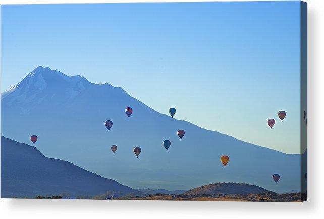 Loree Johnson Acrylic Print featuring the photograph Mount Shasta Balloonrise by Loree Johnson