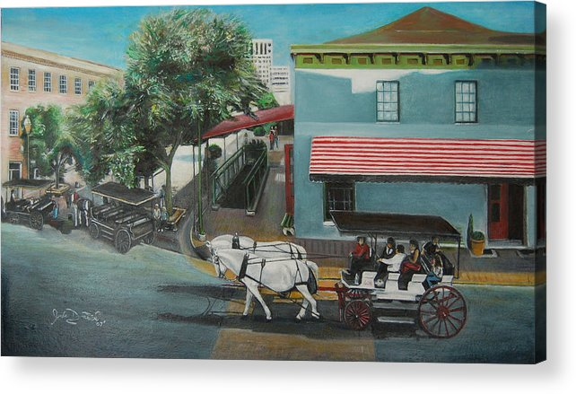 Acrylic Print featuring the painting Savannah City Market by Jude Darrien