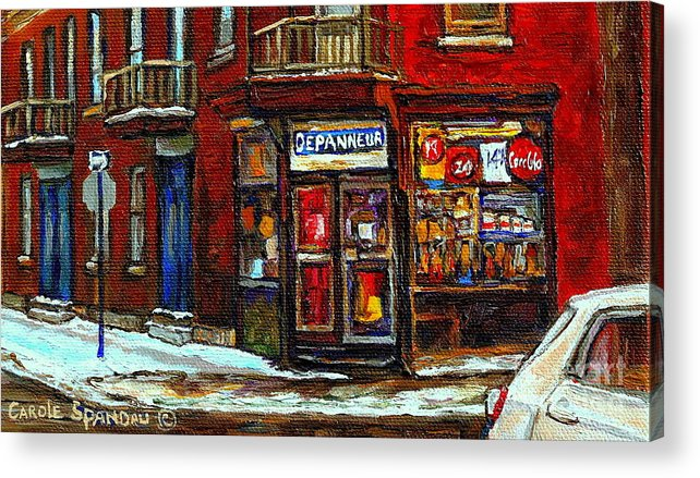 Corner Stores Acrylic Print featuring the painting Shops And Streets Of St Henri- Montreal Paintings Depanneur Coca Cola Winter City Scenes by Carole Spandau