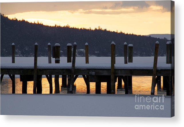 Meredith Acrylic Print featuring the photograph Snow Covered Docks by Michael Mooney