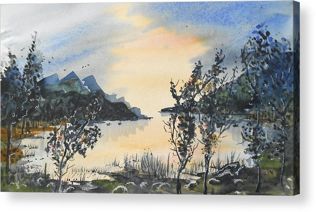 Lake Acrylic Print featuring the painting Summer Lake by Terry Banderas