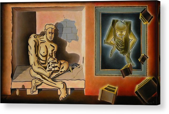 Surreal Acrylic Print featuring the painting Surreal Portents Of Genius by Dave Martsolf