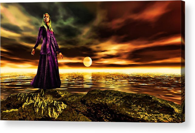 Woman Acrylic Print featuring the painting The Lady And The Sea Of Gold by Tyler Robbins