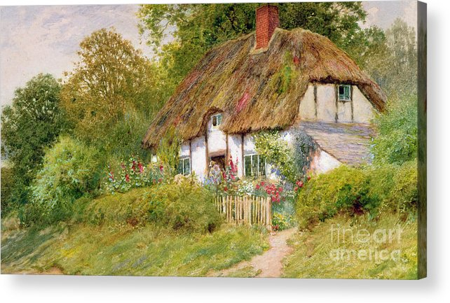 Arthur Claude Strachan Acrylic Print featuring the painting Watching The Sheep by Arthur Claude Strachan