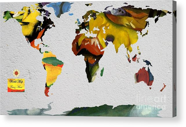 Blue Horses Acrylic Print featuring the digital art Franz Marc 4 World Map by John Clark
