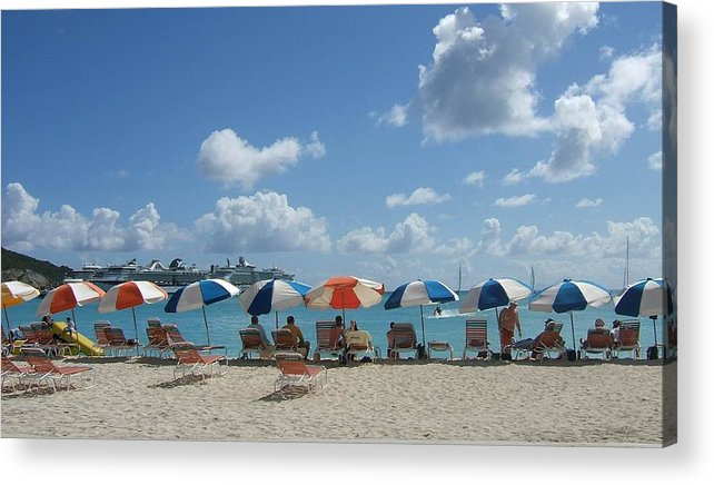 A Sunny Day At The Beach In St. Maarten. Acrylic Print featuring the photograph A Day In The Sun by Patricia Williams