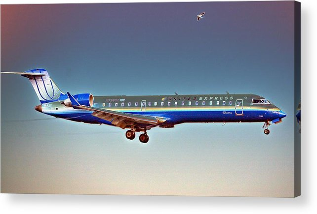 Aviation Acrylic Print featuring the photograph Surreal United Express by Fraida Gutovich
