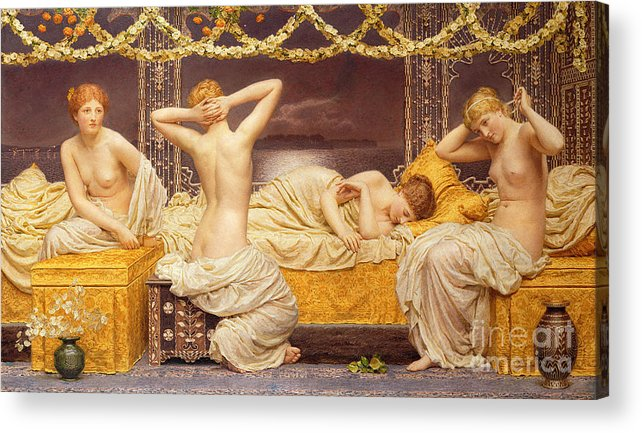 Female; Woman; Nude; See; Classical; A Summer Night Acrylic Print featuring the painting A Summer Night by Albert Joseph Moore