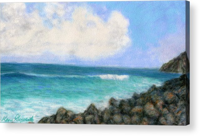 Rainbow Colors Pastel Acrylic Print featuring the painting Around The Point by Kenneth Grzesik