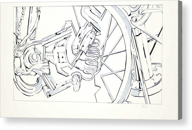 Bicycle Acrylic Print featuring the drawing Bicycle by Maryn Crawford