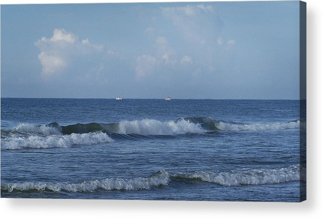 Ocean Acrylic Print featuring the photograph Boats On The Horizon by Teresa Mucha
