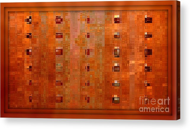 Digital Art Abstract Acrylic Print featuring the digital art Copper Abstract by Carol Groenen