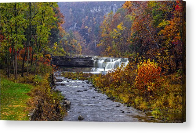 Taughannock Falls State Park Acrylic Print featuring the photograph Falls Fishing by Mark Papke