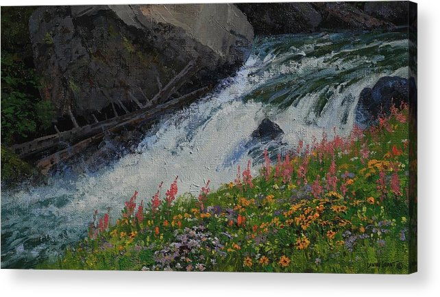 Landscape Acrylic Print featuring the painting Fireweed by Lanny Grant