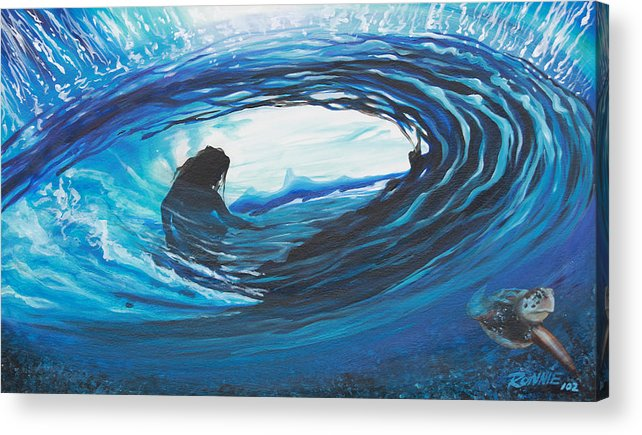 Surf Acrylic Print featuring the painting Glass Eye 2 by Ronnie Jackson