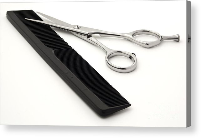 Shears Acrylic Print featuring the photograph Hair Scissors And Comb by Blink Images