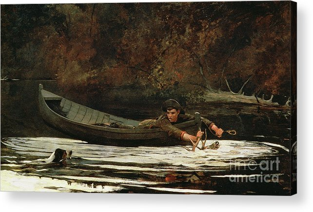 Hound And Hunter Acrylic Print featuring the painting Hound And Hunter by Winslow Homer