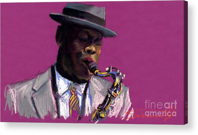 Jazz Acrylic Print featuring the painting Jazz Saxophonist by Yuriy Shevchuk
