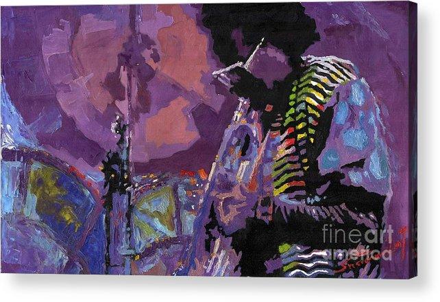 Jazz Acrylic Print featuring the painting Jazz.miles Davis.4. by Yuriy Shevchuk
