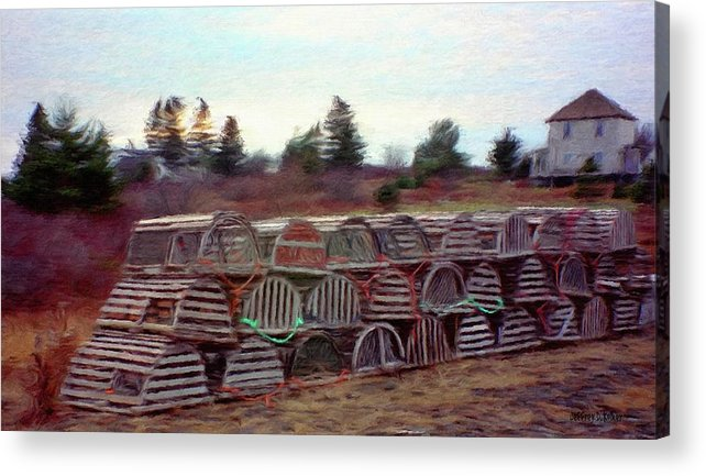 Nova Scotia Acrylic Print featuring the painting Lobster Traps by Jeff Kolker