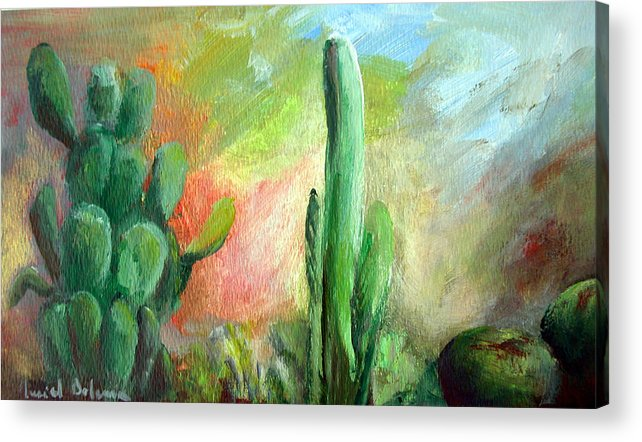 Floral Painting Acrylic Print featuring the painting Lumiere De Desert by Muriel Dolemieux