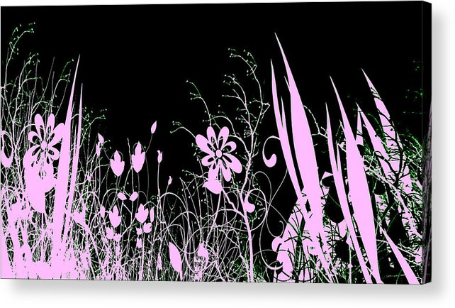 Digital Art Acrylic Print featuring the digital art Night Of The Flowers by Evelyn Patrick