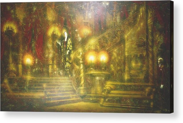 Figures Acrylic Print featuring the painting Nocturnal Discussion by Andrej Vystropov
