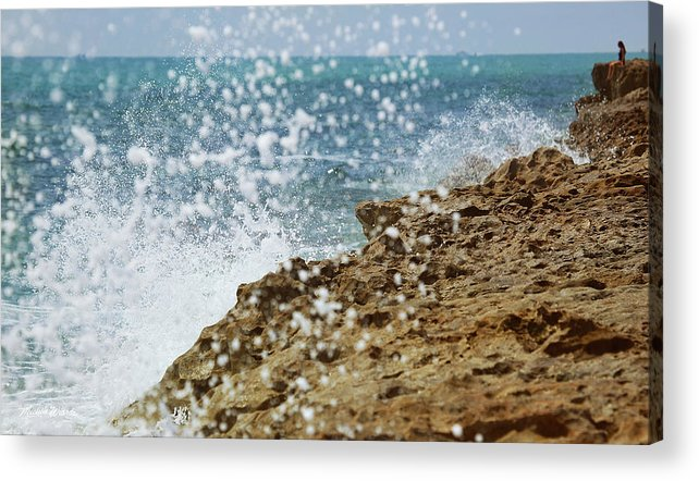 Blowing Rocks Preserve Acrylic Print featuring the photograph On The Edge Blowing Rocks Preserve Jupiter Island Florida by Michelle Constantine