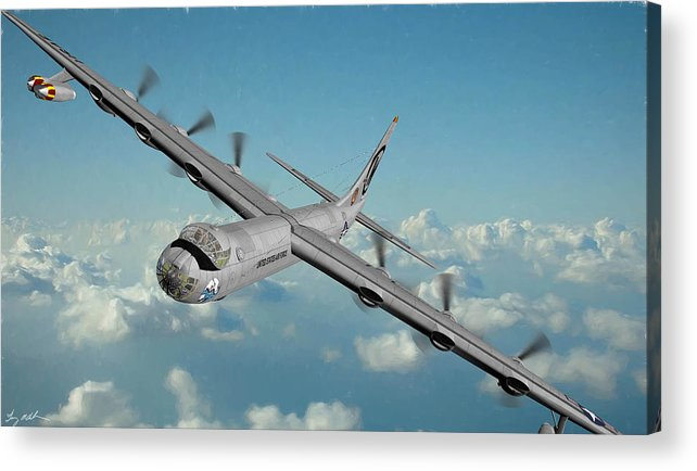 Convair B-36 Peacemaker Acrylic Print featuring the digital art Peacemaker Guardian - Oil by Tommy Anderson