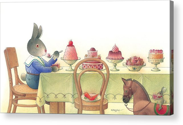 Rabbit Birthday Delicious Acrylic Print featuring the painting Rabbit Marcus The Great 10 by Kestutis Kasparavicius