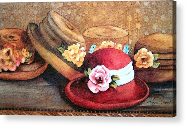 Hat Acrylic Print featuring the painting Red Hat by Karen Stark