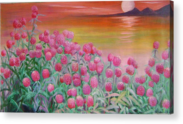 Floral Acrylic Print featuring the painting Red Pearls by Lian Zhen