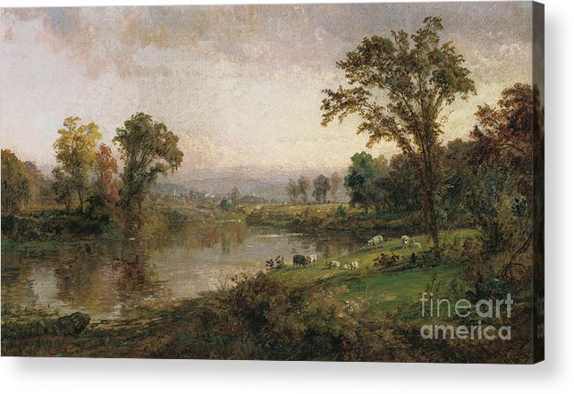 Riverscape - Early Autumn Acrylic Print featuring the painting Riverscape In Early Autumn by Jasper Francis Cropsey