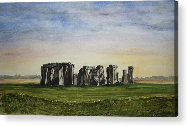 Stonehenge. Britian. Uk. England. Ancient. Acrylic Print featuring the painting Stonehenge by John Cox